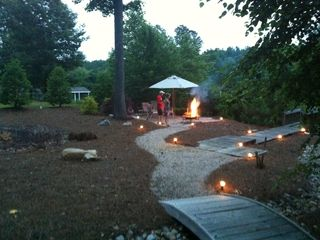 Lake Gaston cabin photo - Path leading to the fire pit and boat dock.