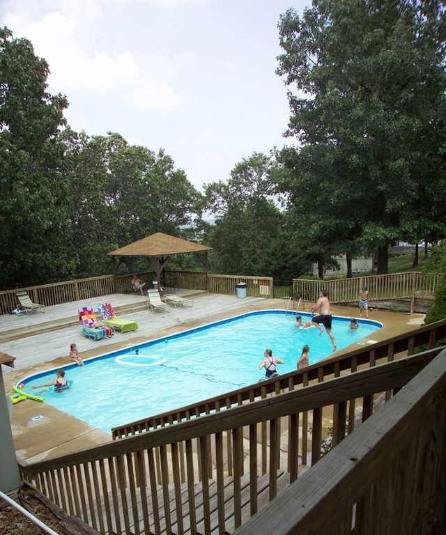 Second outdoor swimming pool with lots of decks for enjoying.
