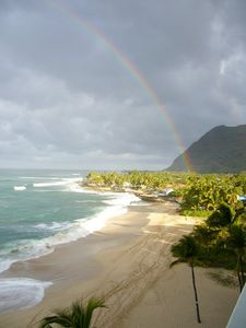 Makaha condo rental - A beautiful Rainbow viewed from the Lanai