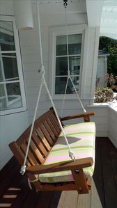 Swing seat on balcony