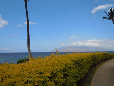 Enjoying the view on the Wailea Beach Walk (West Maui Mountains ahead)