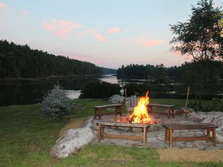 Westport Island house photo - Our fire pit sits on the barn knoll, overlooking the islands and lovely sunsets.