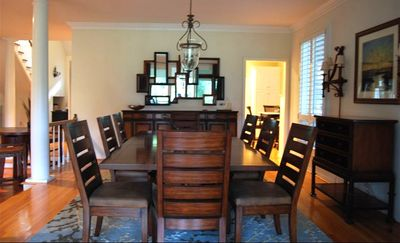 Dining Room is next to kitchen and has windows w/ great view, Can Seat 10