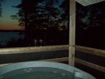 Beech Hill Pond lodge rental - Sunset from Hot Tub on Covered Porch with 180' View of Lake
