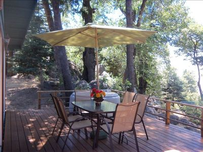 Just added!! Outdoor seating for 6!Enjoy the views & birds from the deck