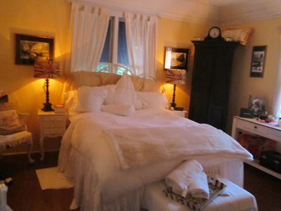 Shelter Island house rental - Master Bedroom on 2nd floor with marble wood-burning fire-place