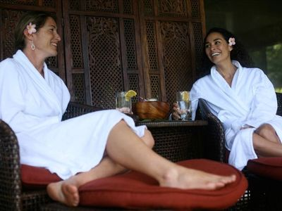 Girls enjoy the day spa.