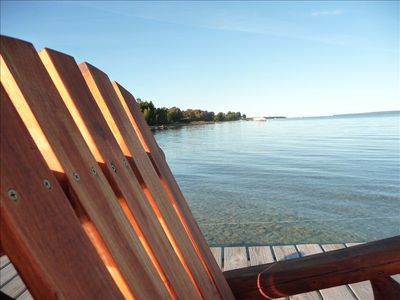 Traverse City apartment rental - Sitting on the dock of the West Bay- viewing North toward Suttons Bay