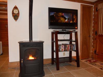 Pellet Stove and TV with DVD Library