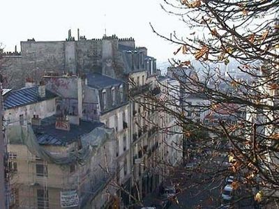 Paris - Montmartre - Abbesses Right view over Paris of the bedroom window