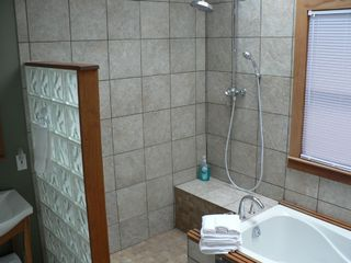 Hiawassee chalet photo - Spa style master bath with rainfall shower head