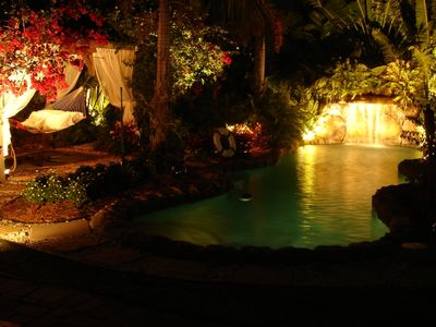 Night view pool area