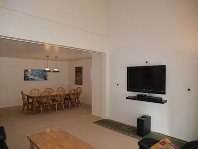 Living area with 46 inch Sony HDTV with Directv plus Sony home theater system