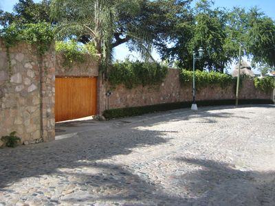 View of wall surrounding property