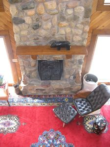 Claybank Township cottage rental - stone fireplace