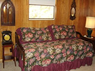Maggie Valley cabin photo - Downstairs bedroom with two twin beds or king trundle (pop up bed underneath)