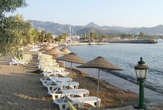 The lovely beach at the pretty resort of Yalikavak