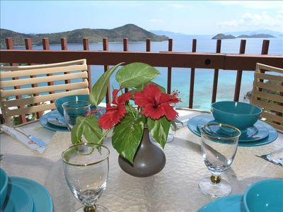 Watch the boats go by while you dine outside on your private balcony !