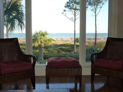 Atlantic Ocean View from Living Room with chairs and foot stool