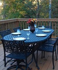Jamestown cabin photo - Large deck perfect for outdoor dining
