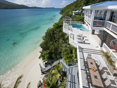 multi-level decks to private beach