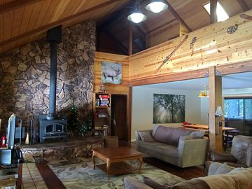 Camp Connell house rental - Great room with loft above.