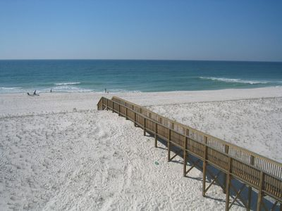 Navarre Beach townhome rental - Boardwalk over Berm to Beach