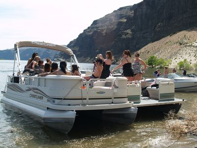 Rent two pontoon boats