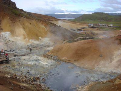 Mud springs in Krysuvik geothermal area