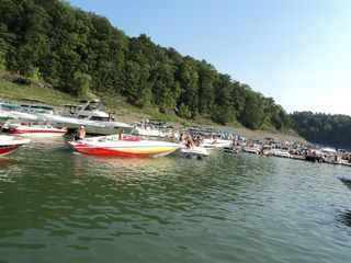 Nancy cabin photo - hundreds of boats at the party cove..