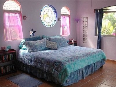 "Playacar villa rental - ""Conejo"" (Rabbit) Master suite has king bed, A/C, private bath and terrace"