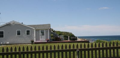 Plymouth house rental - Lawn on both sides of house over looking the ocean. You won't want to leave.