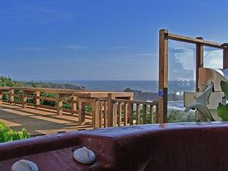 Bodega Bay cottage photo - View of Hog-back rock and Pacific Ocean from hot tub