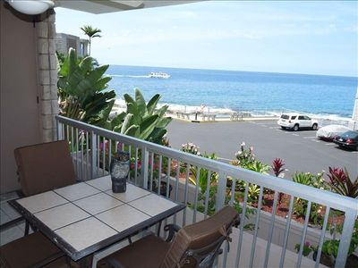 Enjoy ocean views from living room & lanai. Sun & moon-sets are spectacu