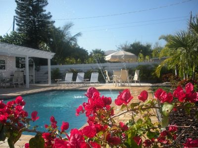 Anna Maria house rental - Pool with paver patio, pergola seating(6), poolside seating(4), & loungers(6