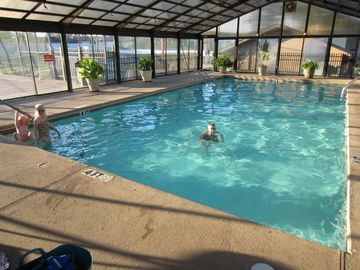 The indoor pool starts at 4' deep. It is about a block away.