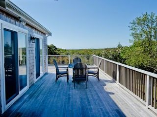 Chilmark house photo - Martha's Vineyard Vacatin Rentals Chilmark Rental: Wraparound Mahogany Deck Looks Out Over The Chilmark Hilltops To Water Views