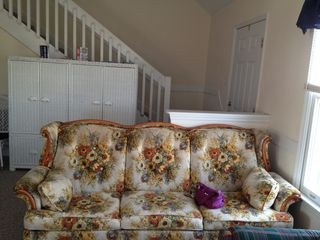 We know it's ugly; BUT queen size sleeper sofa in living room - North Topsail Beach cottage vacation rental photo