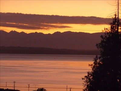 Amazing sunsets from the cottage - looking out towards the Olympic Mountains.