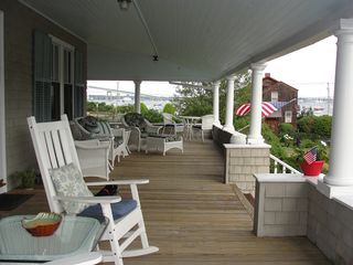 Jamestown (Conanicut Island) house photo - Large wrap around porch with commanding views of bay & bridge