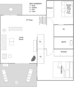 3rd floor layout; rear deck has outdoor sectional coach & bar table/chairs now