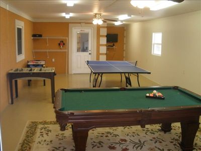 Game room - pool table, foosball, air hockey, Wii, ping pong