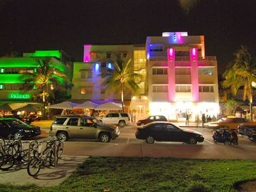 The Casa Grande on Ocean Drive at Night