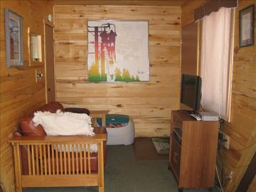 Television area with Direct TV satellite. Door to sauna. Toy box.
