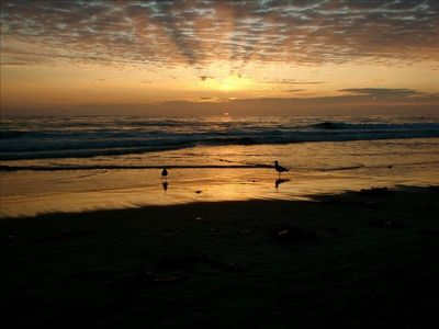 Del Mar beach at sunset. Stroll on one of San Diego's most beautiful beaches