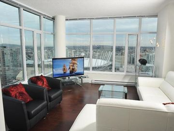 Living - upscale furniture positioned so you can enjoy the view, of course!