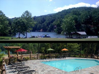 Views of the swimming pool and lakefront amenities. Free kayak use is included
