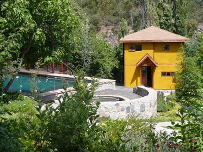 Casa #2 overlooks the Pool, the Hot Tub w/Balcony over the Maipo River