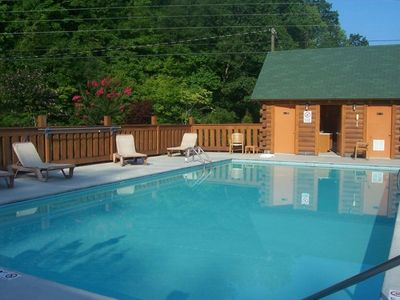 community pool, very close to cabin, has wash rooms and changing area
