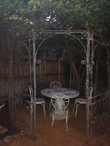 Private yard with gazebo.